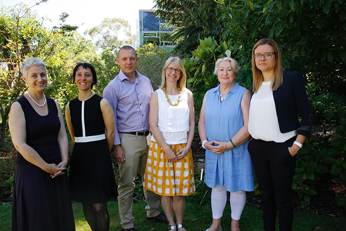L-R  Kath Williams (Director), Stephanie Lavau (Lecturer) Sebastian Thomas (Lecturer), Helen Duckham (Executive Officer), Lyn Spokes (Communications and Events Officer), Adele Chatterton ( Academic Support Officer)